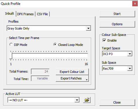 Calibration Quick profile Menu